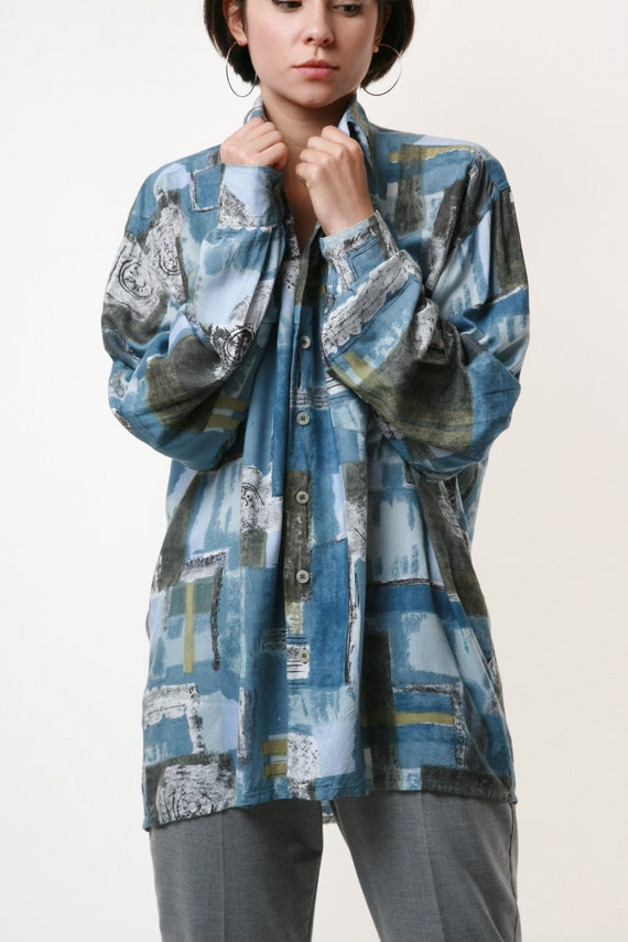 HAPPY LIFE Vintage Abstract Pattern Mens Shirt 17… - image 5