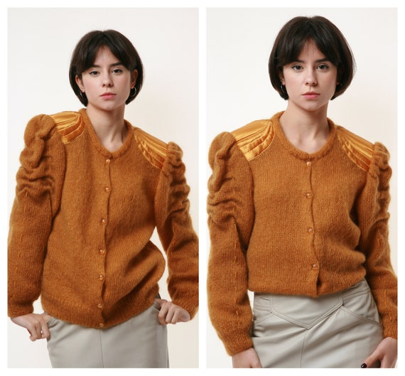 80s Vintage Mohair Dark Yellow Buttons up Jumper … - image 1