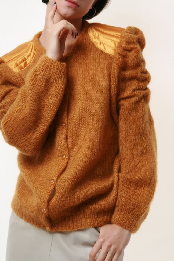 80s Vintage Mohair Dark Yellow Buttons up Jumper … - image 5