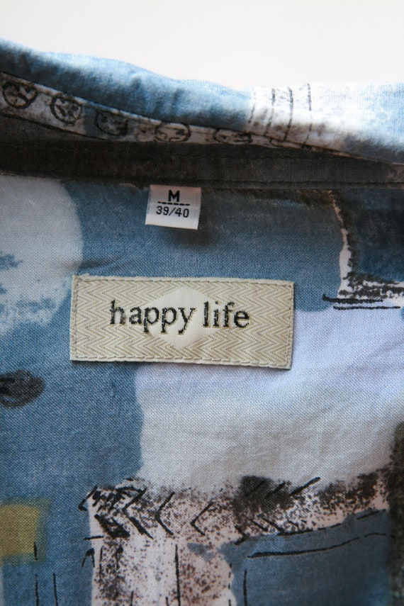 HAPPY LIFE Vintage Abstract Pattern Mens Shirt 17… - image 10