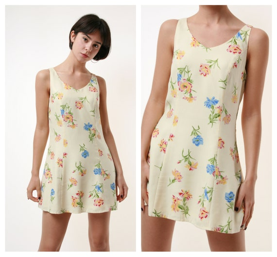 80s Vintage 100% SILK Floral Print Mini Sleeveless