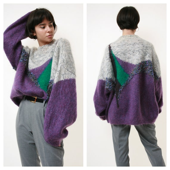 80s Vintage Mohair Wool Angora Knit Jumper Sweater