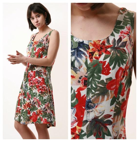 80s Vintage Mini Floral Grunge Dress 1348