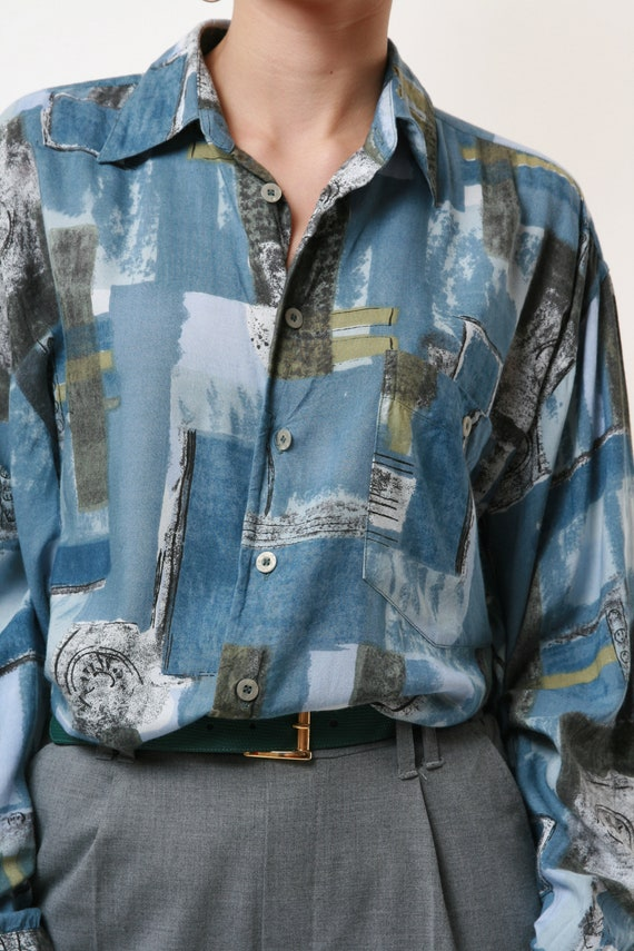 HAPPY LIFE Vintage Abstract Pattern Mens Shirt 17… - image 9