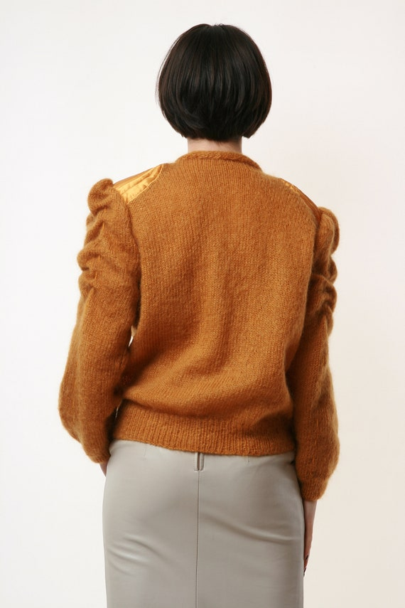 80s Vintage Mohair Dark Yellow Buttons up Jumper … - image 4