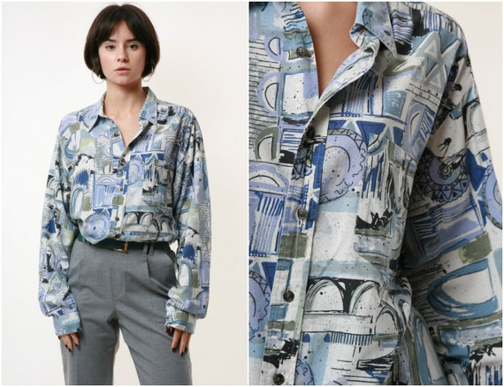 LASER Vintage Abstract Pattern Mens Shirt 17885