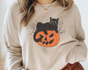 Black Cat on Pumpkin Sweatshirt, Sweater for fall, Black Cat Sweater, Halloween Black Cat Design, Halloween Gifts for Cat Owner