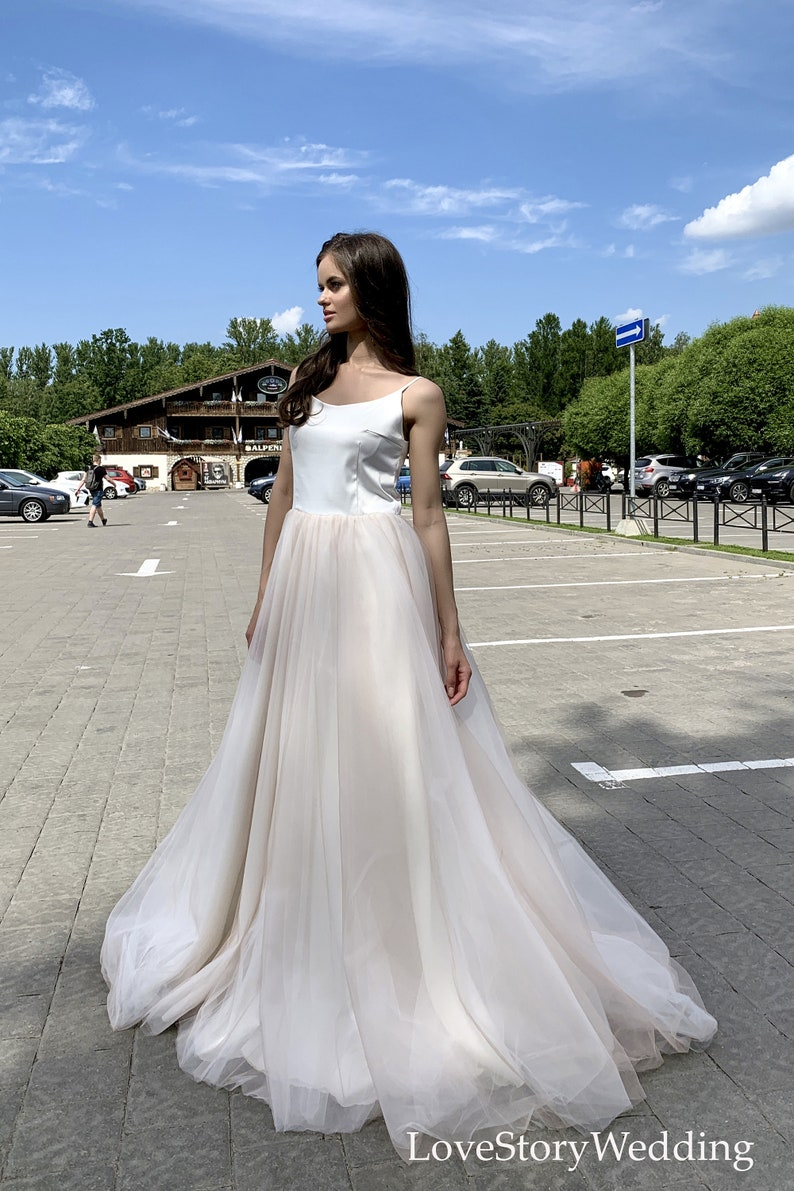 Beach wedding dress with train Light bridal gown Tulle skirt Dress with straps Simple wedding gown Boho style Plus Size Elegant dress Custom