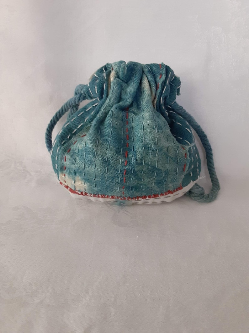 Slow Stitch Vintage Linen Pouch Handmade Hand-dyed Natural dyed Boro Stitched