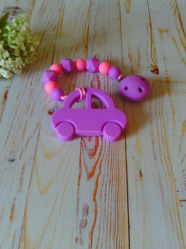 Girl\u2019s Purple Car with Pacifier Clip ~ Pacifier Finder ~ Stocking Stuffer ~ Baby Accessory ~ Free Clip Attachment for a Limited Time!
