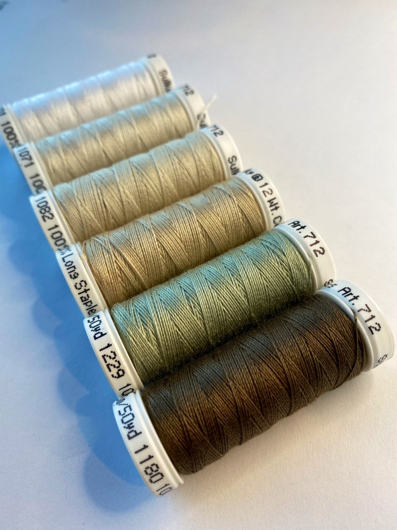 Pack of 12 wt Cotton Embroidery Thread 06 12 WT Cotton Thread Sulky NEUTRALS Cotton Petites Machine /& Hand Embroidery Heavy Cotton Thread