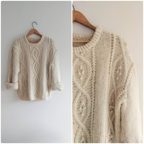 Large Vintage Chunky Cream Sweater Popcorn Cable K