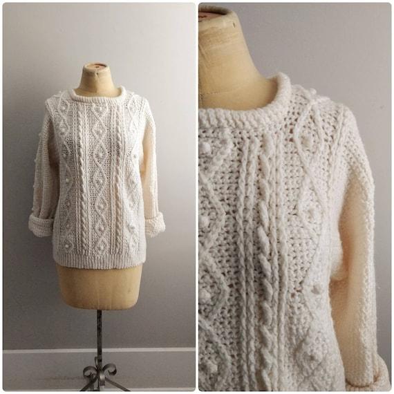 Medium Vintage Chunky Popcorn Knit Acrylic Sweater