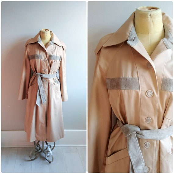 Vintage Womens Tan Suede Trench Coat Belted Long J