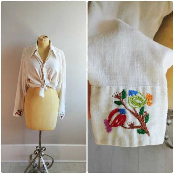 Large Vintage Sheer Cream 1970s Embroidered Boho B