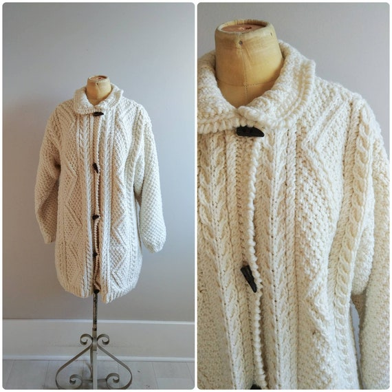 Large Vintage Chunky Sweater Cable Hand Knit Cream