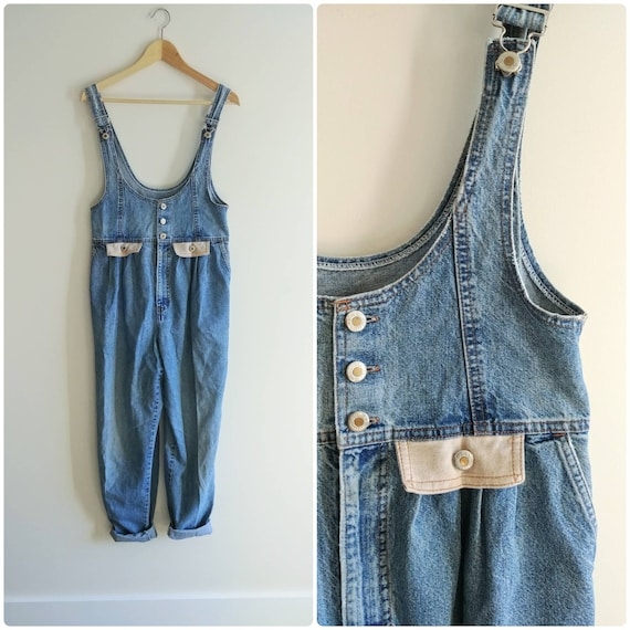 Medium Baggy Overalls Jeans Vintage 1990s Hollywoo