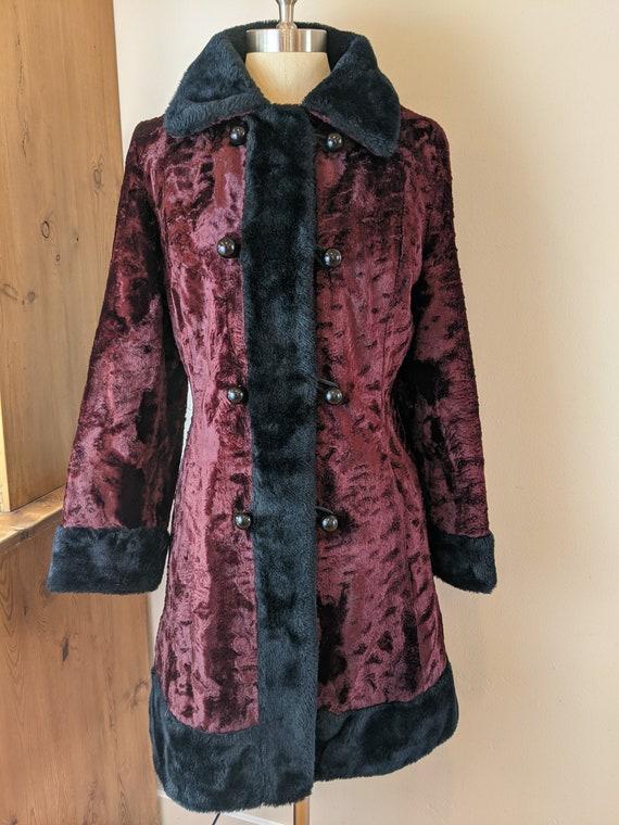 60s faux fur coat, maroon faux fur coat, double br