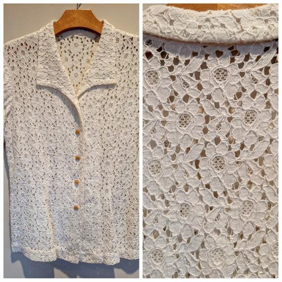 Vintage lace blouse, 50s lace blouse, cottage core