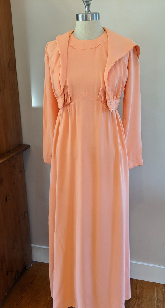 60s halter neck maxi with matching hooded jacket,