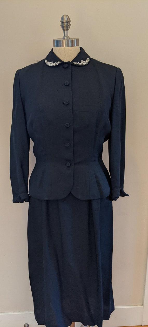 50s silk dress suit, embellished dress suit, 2 pie