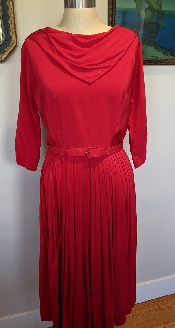 50s red pleated dress, 50s rayon dress, vintage pl