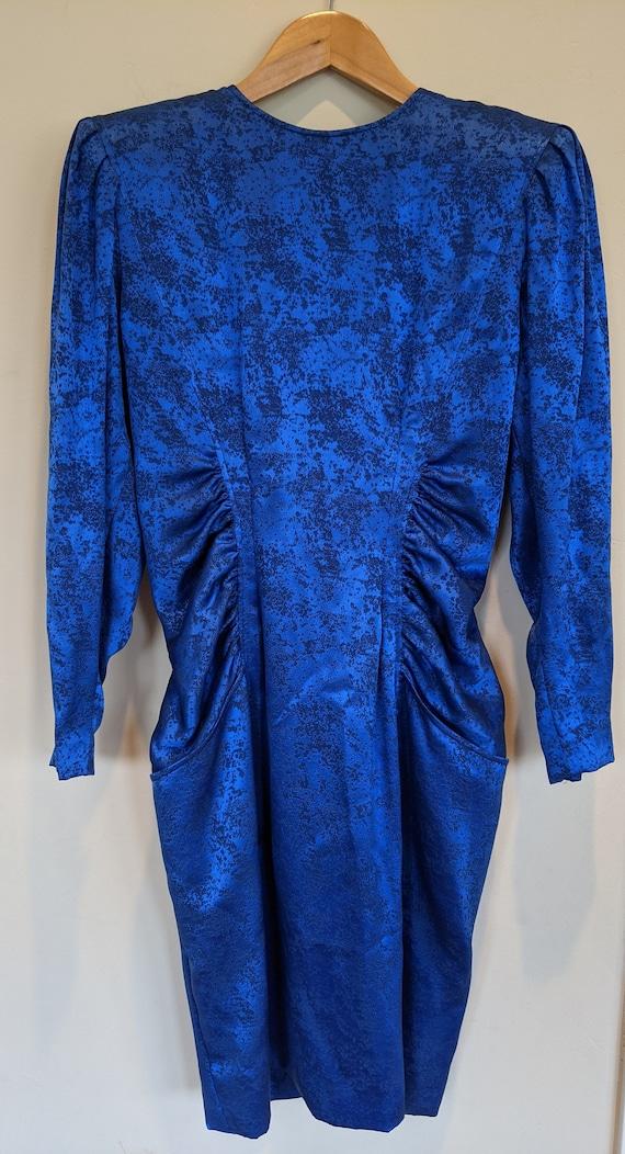 80s Ungaro royal blue silk dress, designer dress,