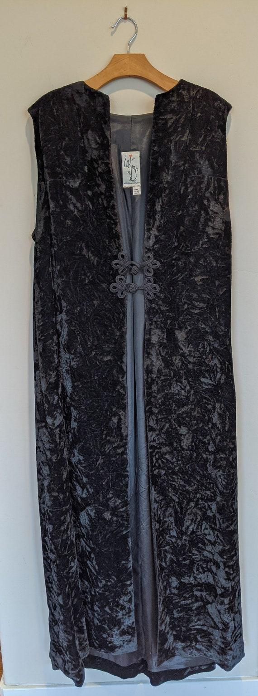 60s black maxi velvet vest, crushed velvet vest, 6