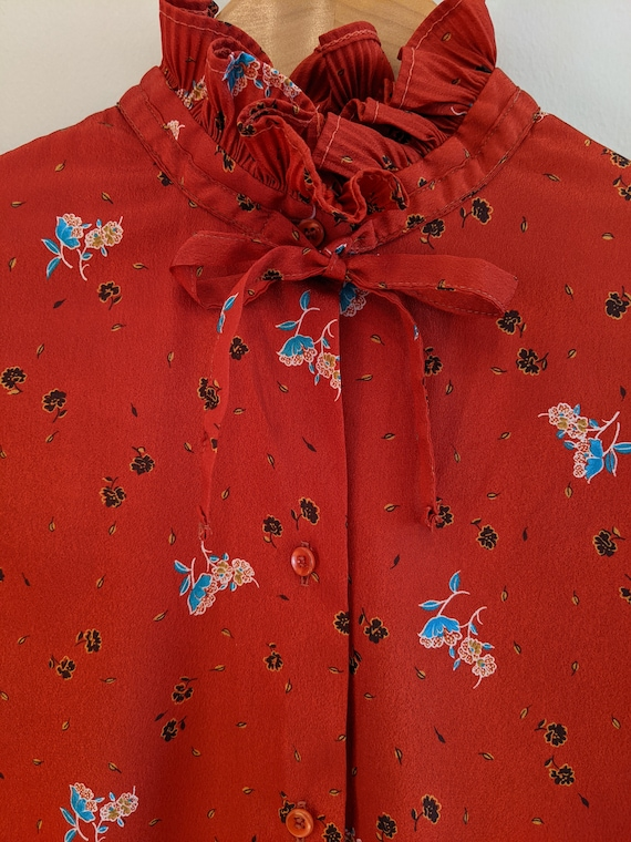 70s ruffle & floral blouse, vintage ruffle blouse… - image 2