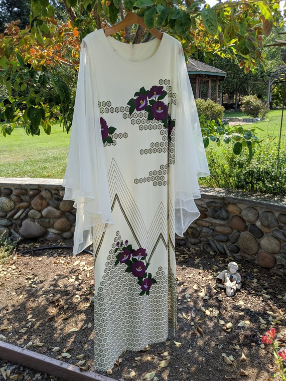 Alfred Shaheen butterfly dress, butterfly sleeves,