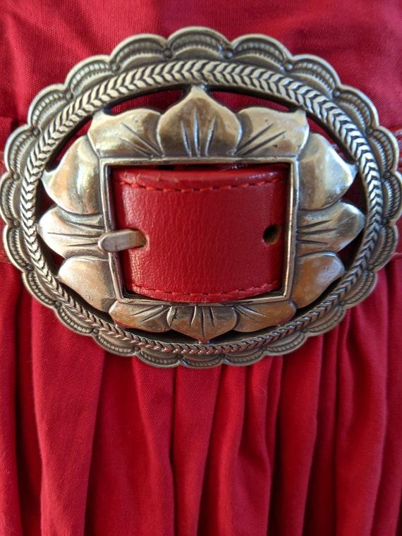 Brighton, 90s silver concho belt, red. Concho belt