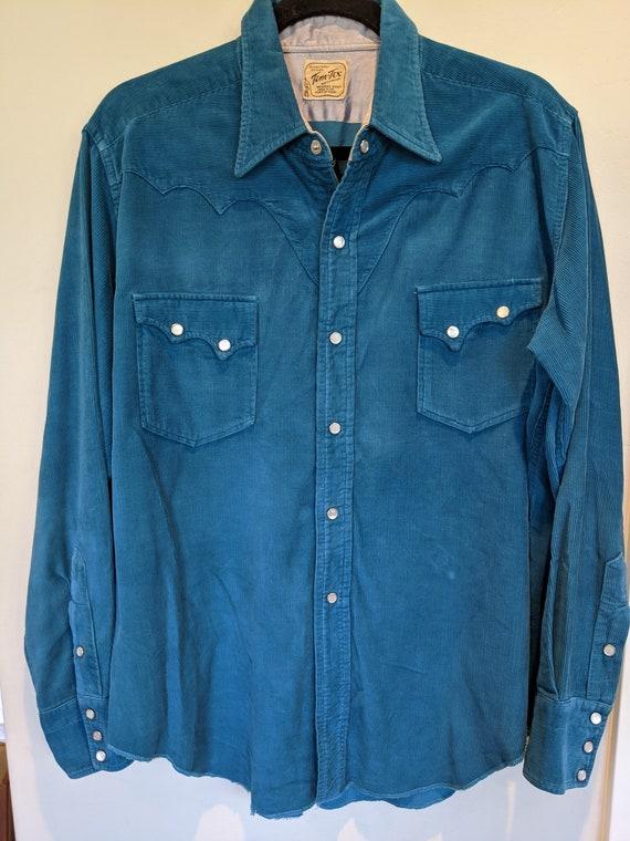 40s vintage Tem Tex corduroy shirt, 1940's clothin