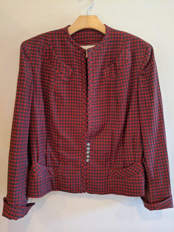 40s gabardine gingham jacket, 40s jacket, 40s, vin