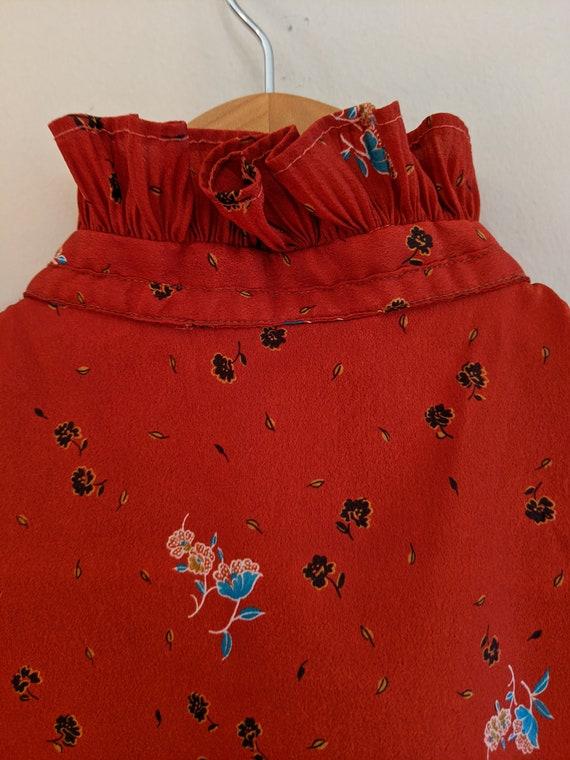 70s ruffle & floral blouse, vintage ruffle blouse… - image 3