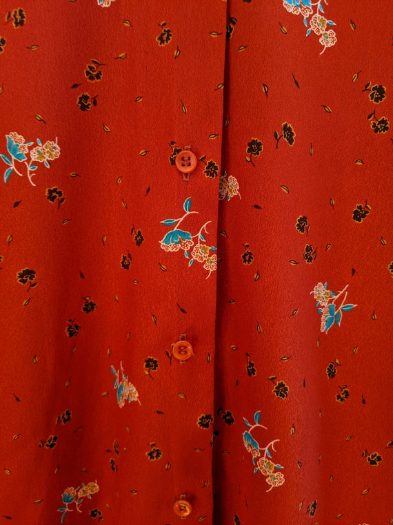 70s ruffle & floral blouse, vintage ruffle blouse… - image 4