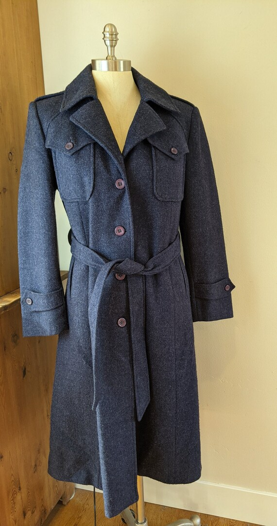 70s wool trench coat, dusty blue. vintage trench c