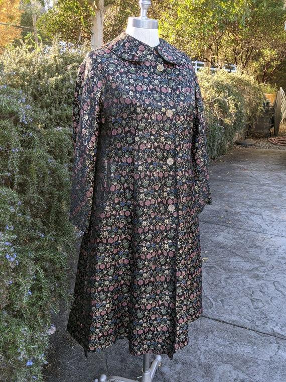60s brocade coat, vintage brocade coat, evening co