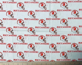 Vintage and Rare TB Tampa Bay Buccaneers NFL Football, 100% Cotton Fabric, Very hard to find, New