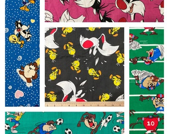 """Vintage Looney Tunes Sylvester, Tweety, Bugs Bunny, Tasmanian Devil, 100% Cotton Fabric.  Sold by 1/4, 1/3, or 1/2 Yard, Widths are 42""""-54"""""""