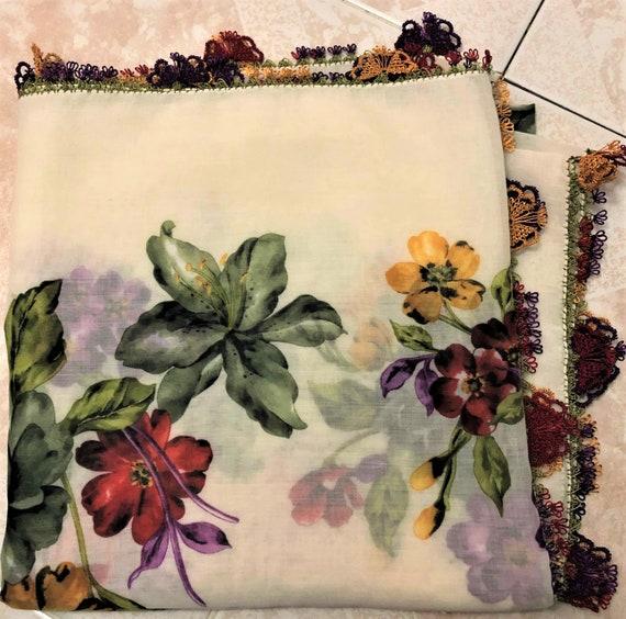 Turkish OYA scarf butterfly pattern needle hand wo