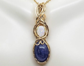 Natural Tanzanite and Australian Opal Wire Wrapped Pendant, Aesthetic Statement Necklace, Crystal Necklace, Beaded Pendant, Handmade Jewelry