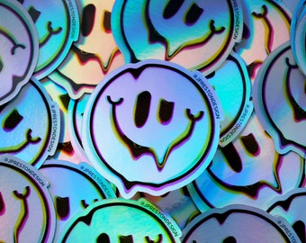 Melty Smiley Holographic Sticker