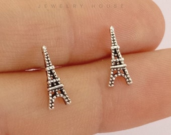 Sterling silver Eiffel tower stud earring, Eiffel tower earring, Eiffel tower stud, Eiffel earring, France, French, tower, gift, birthday