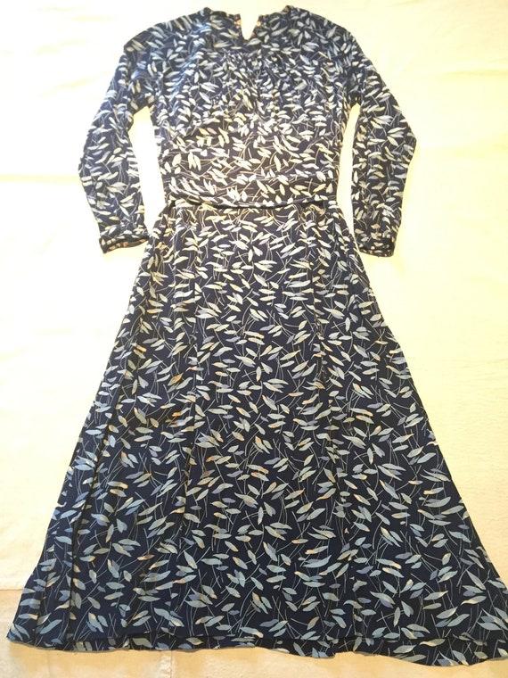 vintage 40's navy print dress - image 1