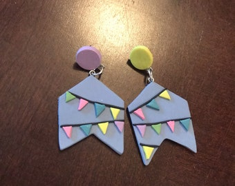 party banner statement earrings - polymer clay rainbow bunting jewelry