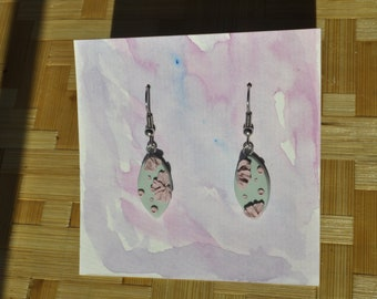 delicate pastel mint and pink dangle earrings - oval floral kawaii jewelry