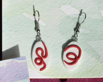 abstract red on white holiday polymer clay earrings - handmade line art jewelry