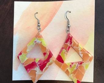 bold flame-colored handmade polymer clay earrings   statement translucent fire jewelry   gifts for her him or them   fun colorful art