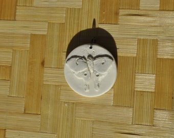 polymer clay luna moth monochrome pendant - handmade minimalist jewelry