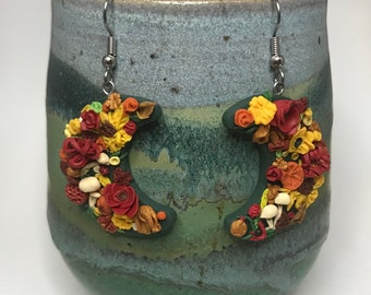 harvest fall moon polymer clay earrings - sculpted autumn floral plant dream jewelry